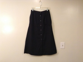 Karen Scott Black Long Skirt Front Buttons Elastic Waist, size 14