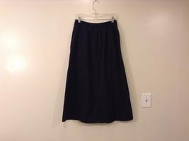 Karen Scott Black Long Skirt Front Buttons Elastic Waist, size 14 image 2