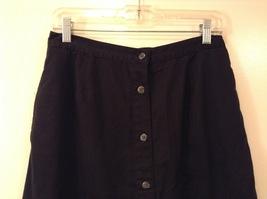 Karen Scott Black Long Skirt Front Buttons Elastic Waist, size 14 image 3