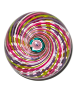 John Deacons Studio Glass Paperweight Swirl with Clichy Rose - $275.00