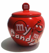 M&M Red My Candy Ceramic Candy Jar with Red & White JOAnn Mars 2010 USA ... - $25.73