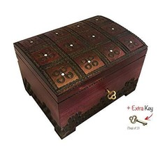 Polish Wooden Handmade Chest Jewelry Keepsake Box with Lock and Key - $42.56