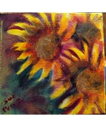 original acrylic painting 6x6 wide  gallery wrap trio sunflowers Fall fl... - $30.00