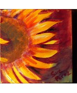 original acrylic painting 6x6 wide  gallery wrap sunflowers Fall floral - $30.00