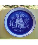 Vintage Rosenthal Coaster Raymond Peynet Lovers OKTOBER October Blue Whi... - $19.31