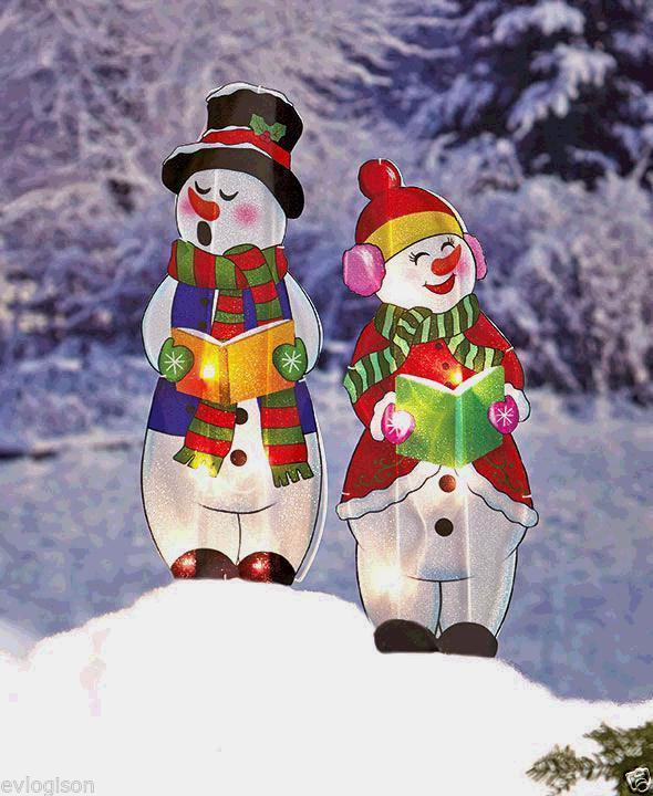 Christmas Carolers Yard Decorations: Lighted Holographic Two Snowman Carolers Christmas Outdoor
