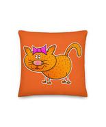 Kitten Pillow Cat Cushion Hand Drawn Cute Best Pillow Funny Cartoon Cat - $32.00+