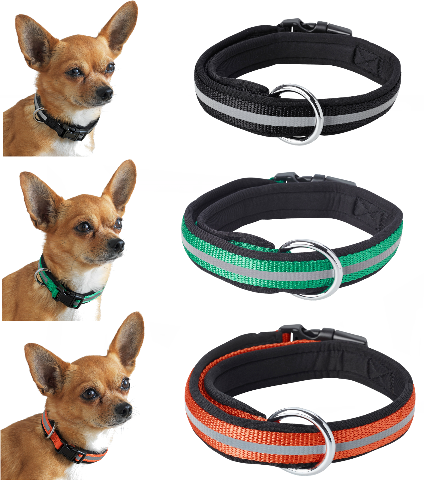 """Reflective Padded Collar for Small Size Dogs up to 11 lbs 5kg Neck Size 6¼ - 11"""" - $16.99"""