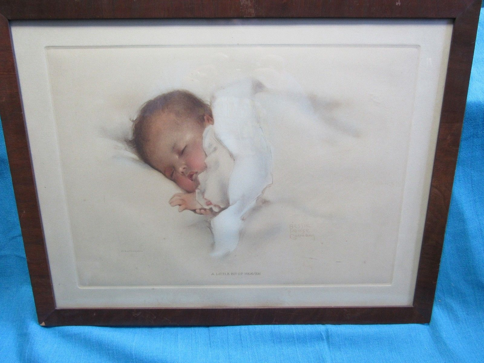 Vtg Bessie Pease Gutmann Little Bit of Heaven Baby Print Original Frame 16 x 21