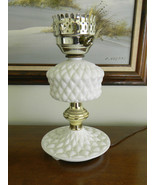 Milk Glass Table Lamp Electric Light has Unique Diamond Hobnail like pat... - $9.99