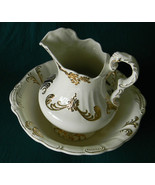 Lg Ivory Gold accent Glazed ceramic Pitcher Wash Basin Bowl Handcrafted ... - $29.99