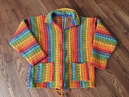Womens Multi-Colored Crotcheted Zip Up Jacket - No Tags - Handmade? Sz Med - $93.49