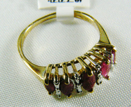 10k yellow gold .80 ctw Ruby Marquise Cut Ring Band Sz 6.75 NWT - $157.41