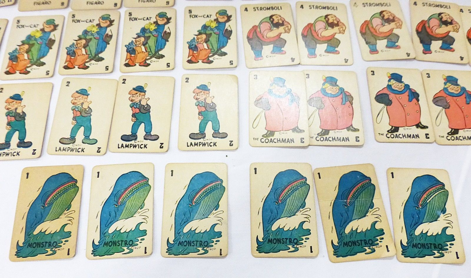 Vintage walt disney pinocchio 1946 game card 48 deck by russell MFG Co