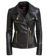NEW Women's Pure Lambskin Leather Biker Jacket Black Racer Motorcycle Di... - $128.10+