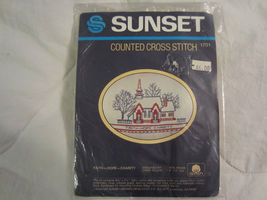 """Counted Cross Stitch Kit by SUNSET """"Faith, Hope and Charity"""" Vintage 1984 - $13.30"""