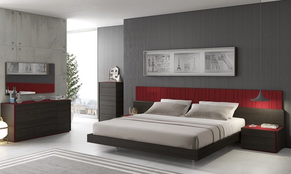 J&M LAGOS King Size Bed Chic Modern Light Grey Lacquer & Wenge Veneer