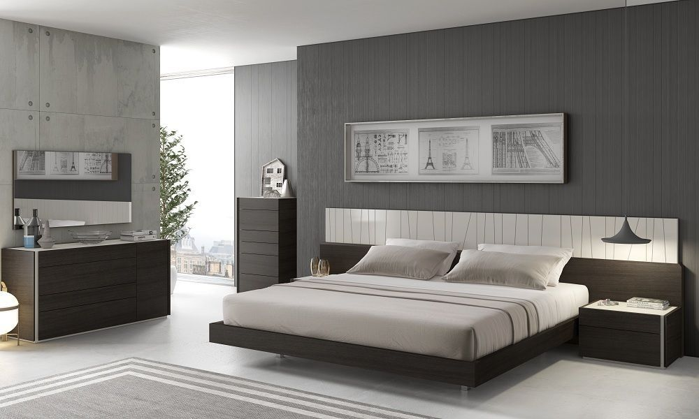 J&M PORTO Queen Size Bed Chic Modern Light Grey Lacquer & Wenge Veneer