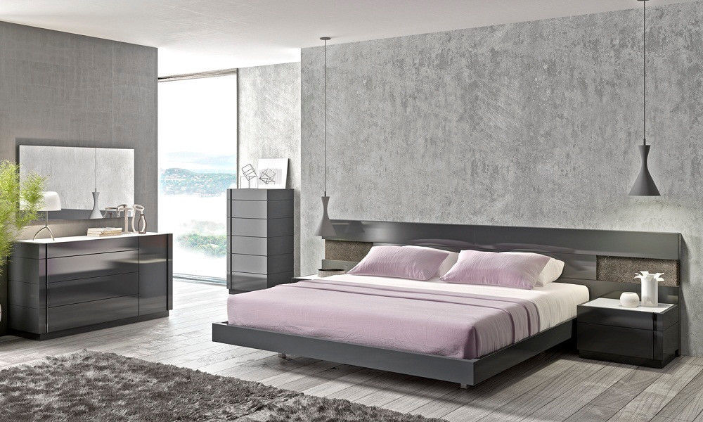 J&M Chic Modern Braga Grey Lacquer & Natural Wood Veneer Queen Size Bed