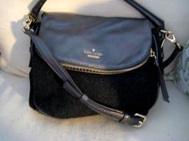 KATE SPADE Crossbody Satchel Gray Leather & Wool Handbag  - MINT Authentic - $89.10