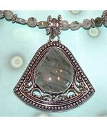 Green Tourmalinated Quartz Necklace with Pendant .925 - $116.00