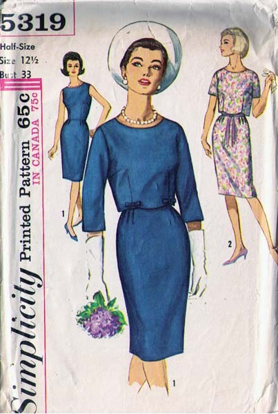 1963 DRESS & JACKET Pattern 5319-s Half-Size 12 - Complete