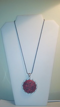 Large Genuine Red Turquoise Stone Pendant On Bl... - $9.99