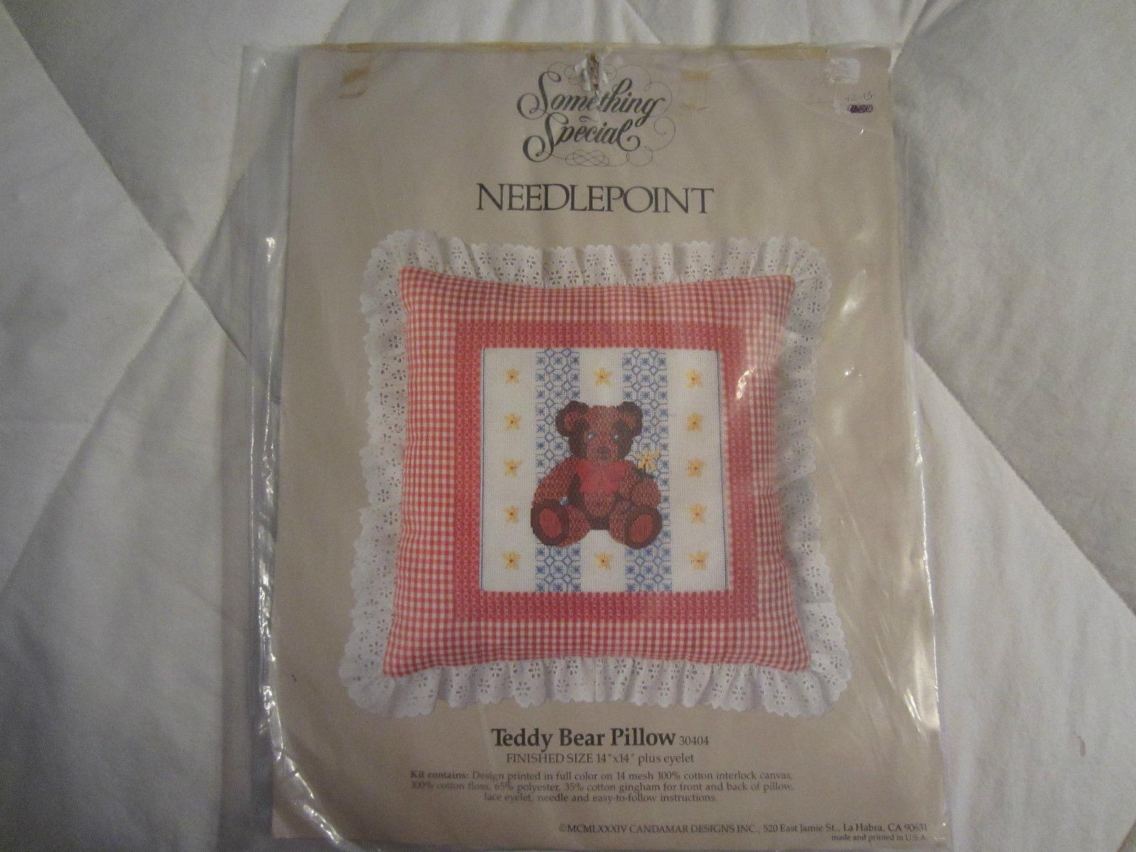 Teddy Bear Pillow Vtg 1980s Needlepoint Kit CandaMar Designs - $22.00