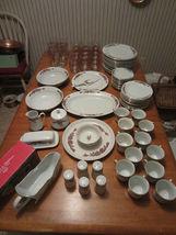 "Vintage 1995 Tienshan Christmas China/Glassware ""Pointsettia & Ribbons S... - $326.90"