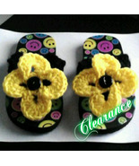 Girls Crochet Flower Flip Flop (black & yellow) - $5.00