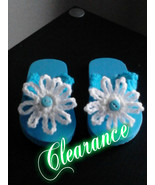 Girls Crochet Flower Flip Flop (Aqua Blue & White) - $5.00