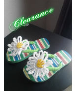 Girls Crochet Flip Flops (Green Multi Color) - $5.00