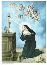 "Catholic Print Picture ST. RITA Cascia Nun w/ angels 7 1/2x10"" ready to ... - $14.01"