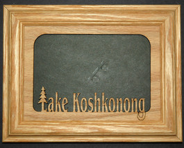 Oak wood picture frame with Personalized wood Lake Name Photo Insert siz... - $35.95