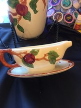 FRANCISCAN WARE APPLE GRAVY BOAT WITH ATTACHED UNDERPLATE CALIFORNIA MARK - $19.75