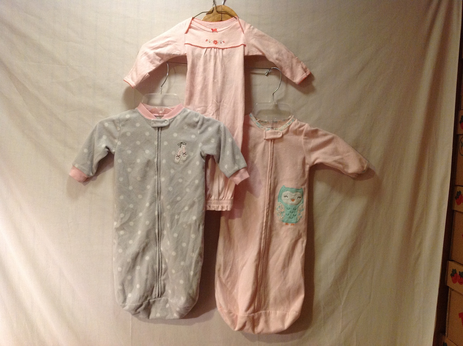 Carter's Baby Sleepers one piece Set of 3, Size Newborn