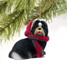 SHIH TZU (BLACK WHITE) DOG CHRISTMAS ORNAMENT HOLIDAY  Figurine gift - $9.50
