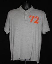 Teen Boys Short Sleeve Polo Shirt Button Neck Size 18 Gray Orange Comfort Top - $8.41