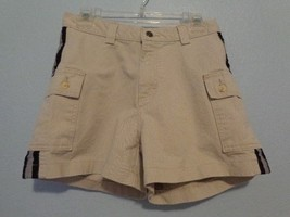 Vintage 90s Lee Pipes Cargo Shorts Womens Size 7 Khaki Blue Stripe Cotton Shorts - $18.74