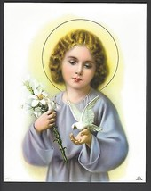 "Catholic Print Picture Holy Child Jesus w/ Lily and Dove 8x10"" ready to ... - $14.01"