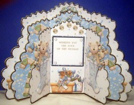HANDMADE GREETING CARD - BEAR IN STOCKING TRIPL... - $7.95