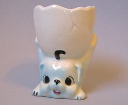 Egg Cup Puppy Dog Blue White Vintage Ceramic Porcelain Pottery Cute - $20.00