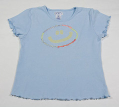 THE CHILDRENS PLACE TCP GIRLS 7 8 SHIRT BLUE EMBROIDERED SMILEY FACE SMI... - $10.93