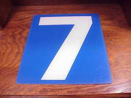 Service Station Number 7 Plastic Store Sign, White Number on a Blue Back... - $9.95