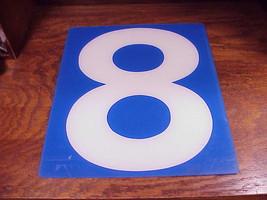 Service Station Number 8 Plastic Store Sign, White Number on a Blue Back... - $9.95