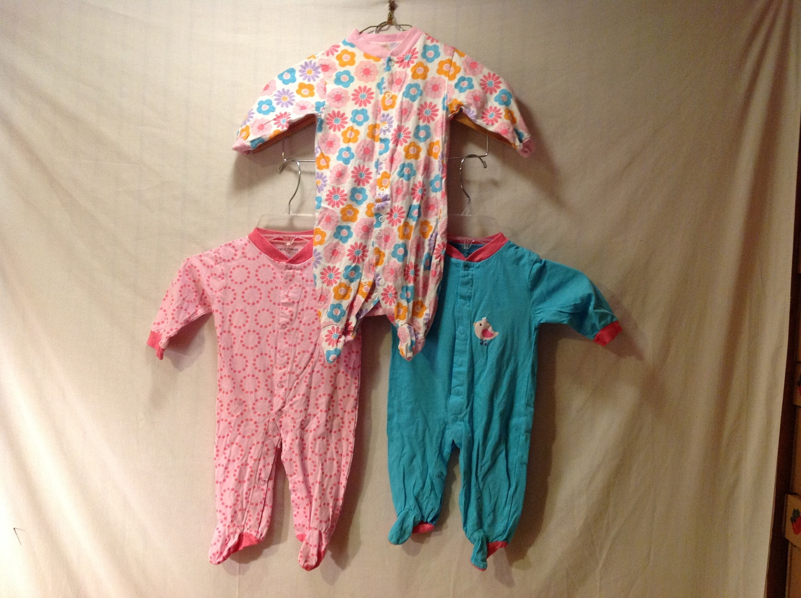 Loveable Friends Baby Feetie Outfits Set of 3, Size 3-6 Months