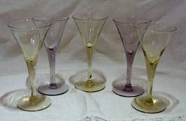 Vintage Pastel Purple & Yellow Cordial Liquor Glasses - $15.00