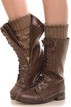 ICONOFLASH Women's Short Diamond Knit Leg Warmer Boot Cuffs, Hazelnut - $10.88