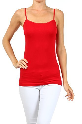 ICONOFLASH Women's Everyday Solid Color Thin Strap Camisole (Red, One Size) - $9.89