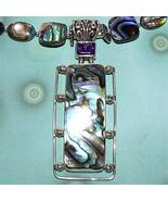 Silver OOAK Abalone and Amethyst Butterfly Necklace - $130.00